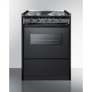 """Summit24"""" Wide Slide-in Electric Range In Black With Oven Window, Light, and Lower Storage Compartment; Replaces Tem619rw/tem610cwrt"""