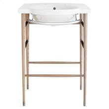 """Lowell 26"""" Wood Console Bathroom Sink - Canvas White/Graphite"""