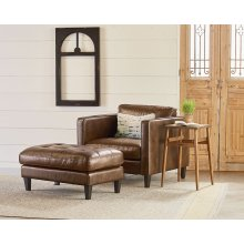 Dapper Chair And Ottoman In Coffee Leather