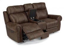 Forrest Fabric Power Gliding Reclining Loveseat with Console and Power Headrests