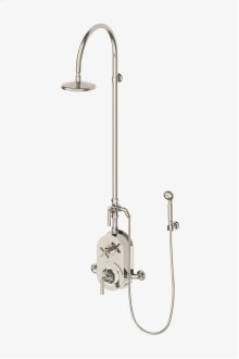 """Henry Exposed Thermostatic Shower System with 8"""" Shower Head, Handshower, Metal Lever Diverter Handle, Metal Lever and Cross Handle STYLE: HNXS70"""