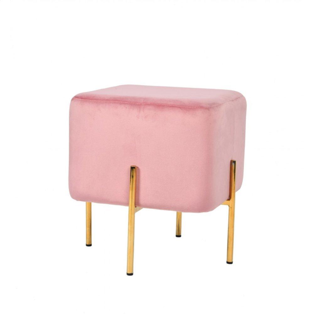 Modrest Daphne Modern Pink Velvet & Gold Ottoman