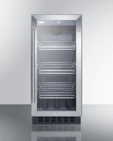 """15"""" Wide Built-in Undercounter Glass Door Beverage Cooler for Home or Commercial Use, With Digital Controls, Lock, LED Light, and Black Cabinet"""
