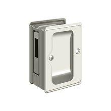 "HD Pocket Lock, Adjustable, 3 1/4""x 2 1/4"" Sliding Door Receiver - Polished Nickel"
