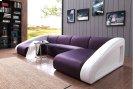 Divani Casa 0916 Modern Purple & White Fabric & Leather Sectional Sofa Product Image