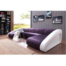 Divani Casa 0916 Modern Purple & White Fabric & Leather Sectional Sofa