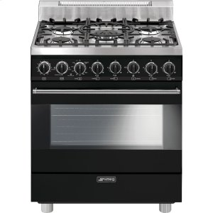 "SmegFree-Standing Gas Range, 30"", Black"