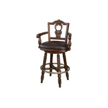 "North Shore 30"" Swivel Upholstered Bar Stool, Dark Brown"