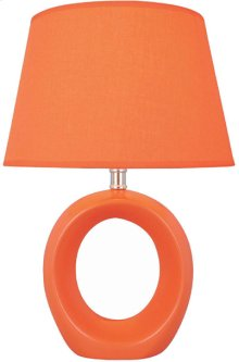 Table Lamp, Orange Ceramic Body, Fabric Shade, E27 Cfl 13w