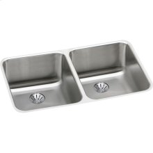 """Elkay Lustertone Classic Stainless Steel 30-3/4"""" x 18-1/2"""" x 10"""", Double Bowl Undermount Sink with Perfect Drain"""