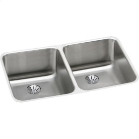 "Elkay Lustertone Classic Stainless Steel 30-3/4"" x 18-1/2"" x 10"", Double Bowl Undermount Sink with Perfect Drain"