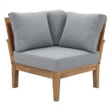 Marina Outdoor Patio Teak Corner Sofa in Natural Gray
