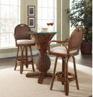 Havana Palm 3 PC Pub & Legacy Swivel Barstool Group with glass and cushion as shown Product Image