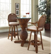 Havana Palm 3 PC Pub & Legacy Swivel Barstool Group with glass and cushion as shown