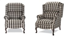 High back recliner with Cherry Queen Anne legs