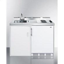 "48"" Wide All-in-one Kitchenette With Two Coil Burners, A Cycle Defrost Refrigerator-freezer, Sink, and Storage Cabinet"
