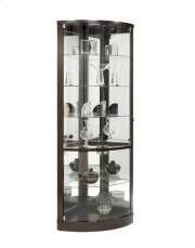 Curved 5 Shelf Corner Curio Cabinet in Sable Brown Product Image