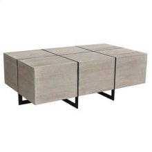 Bengal Manor Antique Nickel and Acacia Wood White Wash Finish Rectangle Squares Cocktail Table
