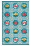 Flower Trellis Lt. Blue Loop Hooked Rugs