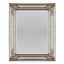 Rectangular Mirror Accented by Gold Floral Decor, Mirrored Borders, Beveled Mirror