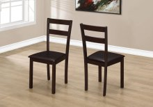 """DINING CHAIR - 2PCS / 35""""H CAPPUCCINO / DARK BROWN SEAT"""