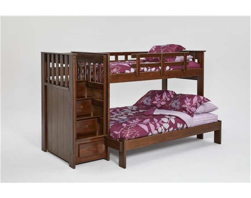 Heartland Staircase Bunk Bed With Front Drawers Options Chocolate Twin Over Full