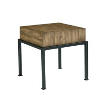 Salvage Butcher Block End Table