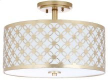 Hutch 3 Light 16-inch Dia Gold Flush Mount - Gold Shade Color: Off-White