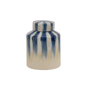 "Ceramic 8.5"" Covered Jar, Blue/white Stripe"
