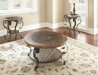 Mulberry Round End Table w/ Blue Stone