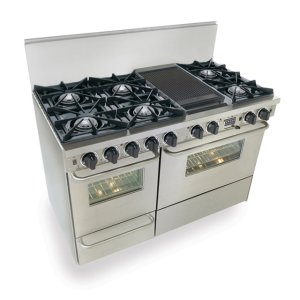 "Five Star48"" Dual Fuel, Convect, Self Clean, Open Burners, Stainless Steel"