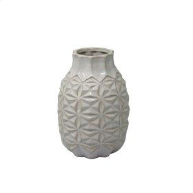 "Ceramic 8.75"" Geo Vase, Ivory"