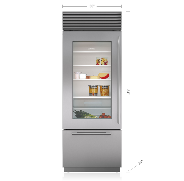 "Subzero30"" Classic Over-And-Under Refrigerator/freezer With Glass Door"