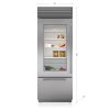 "Subzero 30"" Classic Over-And-Under Refrigerator/freezer With Glass Door"