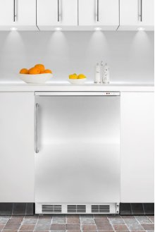 Built-in undercounter all-freezer capable of -25° C operation, with wrapped stainless steel door and towel bar handle