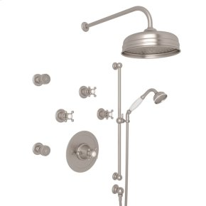 Satin Nickel GEORGIAN ERA U.KIT77LS THERMOSTATIC SHOWER PACKAGE with Georgian Era Cross Handle