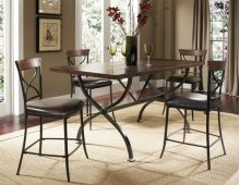Cameron 5pc Counter Height Rectangle Wood Dining Set With X Back Stools