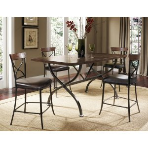 Hillsdale FurnitureCameron 5pc Counter Height Rectangle Wood Dining Set With X Back Stools