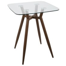 Clara Square Counter Table - Walnut Metal, Clear Glass