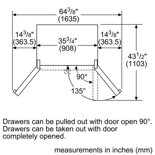 800 Series French Door Bottom Mount Black