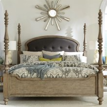 Corinne - Full/queen Upholstered Poster Headboard - Sun-drenched Acacia Finish