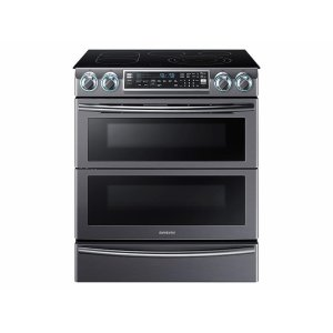 SAMSUNG5.8 cu. ft. Slide-In Electric Range with Flex Duo & Dual Door in Black Stainless Steel