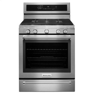 Kitchenaid30-Inch 5 Burner Gas Convection Range with Warming Drawer - Stainless Steel