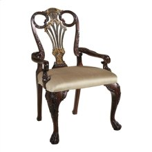 CARVED ANTIQUE MAHOGANY AND BL ACK CHINOISERIE FINISHED ARMCH AIR, NEUTRAL FABRIC UPH