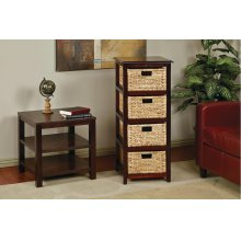 Seabrook Four-tier Storage Unit With Espresso Finish and Natural Baskets