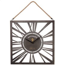 Square Wall Clock with Rope Hanger.