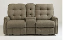 Devon Fabric Reclining Loveseat with Console and Nailhead Trim
