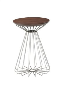 Emerald Home Pizzazz Round End Table W/wood Top and Metal Base Walnut T144-01