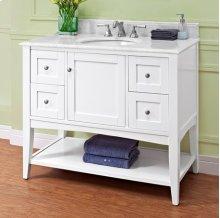 """Shaker Americana 42"""" Open Shelf Vanity - Polar White"""