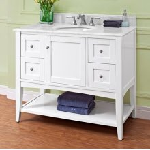 "Shaker Americana 42"" Open Shelf Vanity - Polar White"